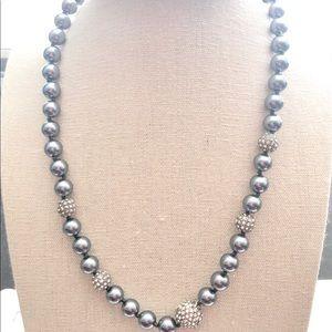 Monet slate metallic gray pearl necklace
